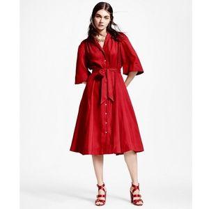 Brooks Brothers  Women's Red Silk Shirt Dress